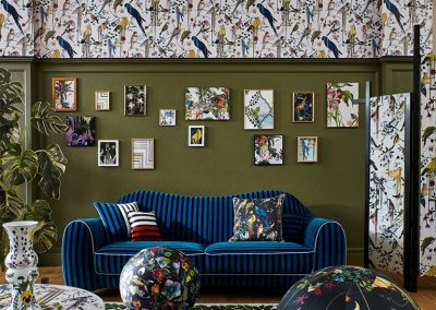 Striped Velvet sofa in Christian Lacroix fabrics from Designers Guild