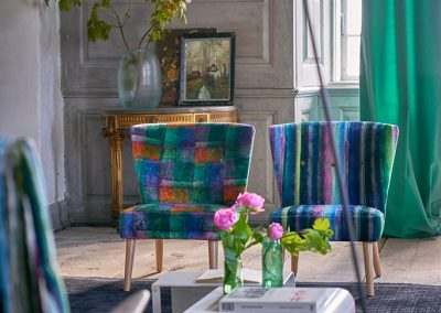 Colourful Chairs in Designers Guild Fabrics