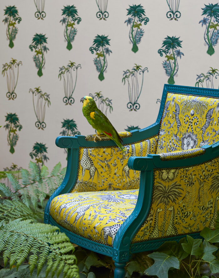 Room shoot showing the Jungle Palms wallpaper for the Animalia Wallpaper collection for Clarke & Clarke