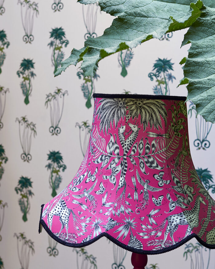 Room Shoot showing the Jungle Palms wallpaper and the co-coordinating fabric from the Animalia Wallpaper and Fabric collections
