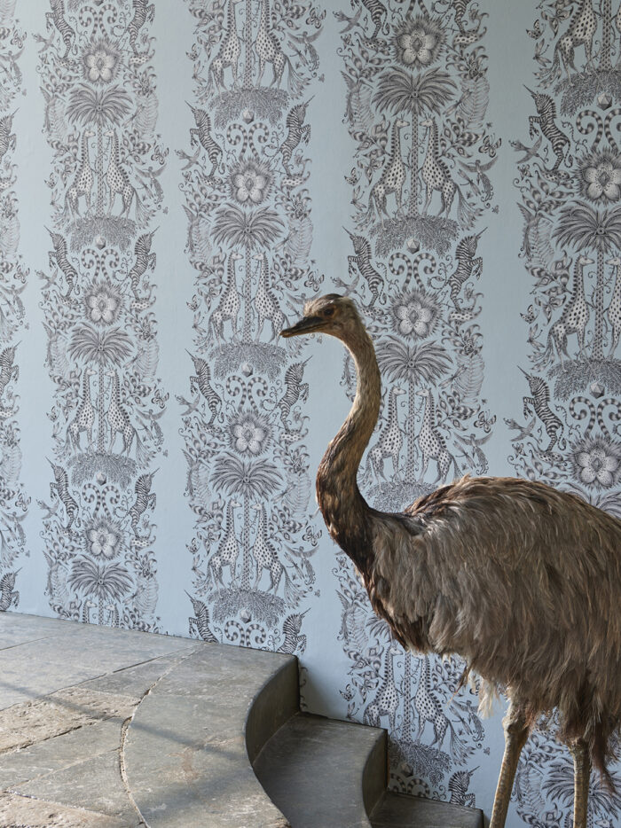 Room shoot showing the Kruger wallpaper designed by Emma J Shipley from the Animalia Wallpaper colleciton for Clarke & Clarke
