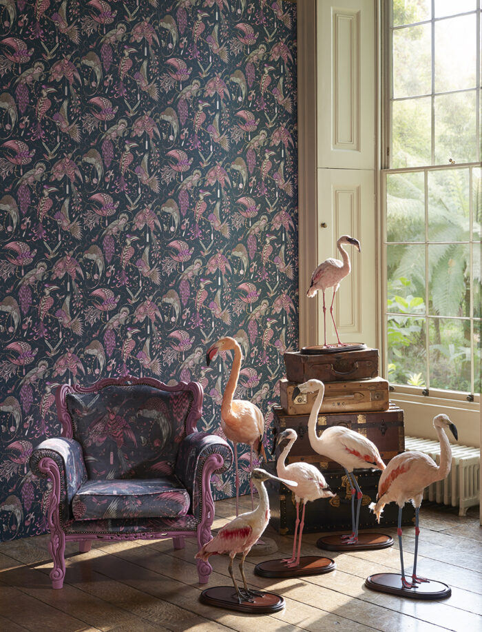 Room shot showing the Audubon wallpaper collection
