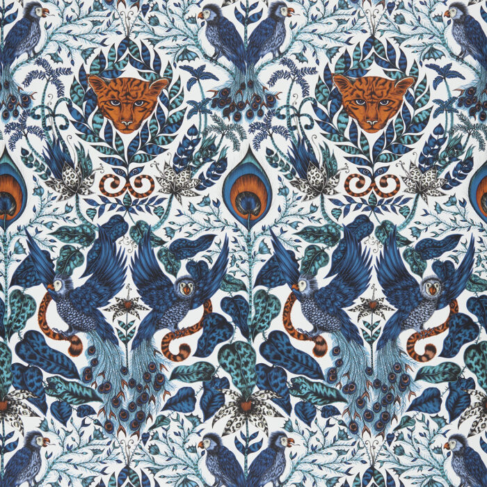 Amazon Wallpaper in Blue designed by Emma J Shipley for the Animalia collection for Clarke & Clarke