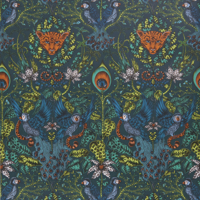 Amazon Wallpaper in Navy designed by Emma J Shipley from the Animalia Wallpaper collection for Clarke & Clarke