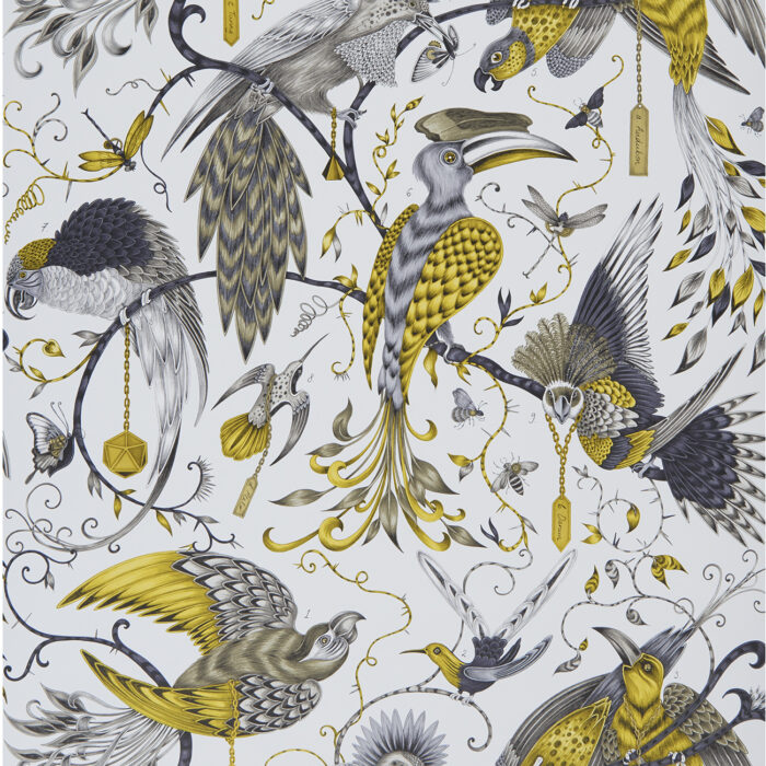 Audubon Wallpaper in Gold designed by Emma J Shipley for the Animalia Wallpaper Collection for Clarke & Clarke