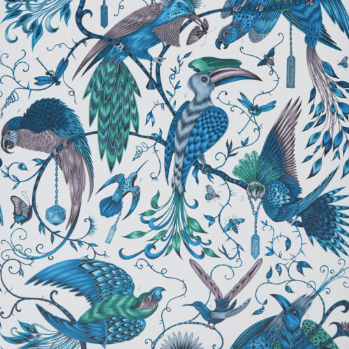 Audubon Wallpaper in Jungle colour way designed by Emma J Shipley for the Animalia Wallpaper collection for Clarke & Clarke