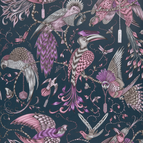 Audubon Wallpaper in Pink designed by Emma J Shipley for the Animalia Collection for Clarke & Clarke