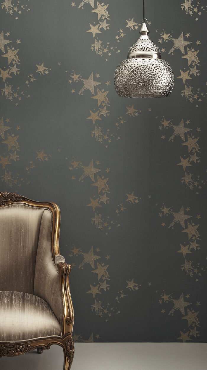 Room Shot All star wallpaper in colour way Gunmetal by Barnaby Gates
