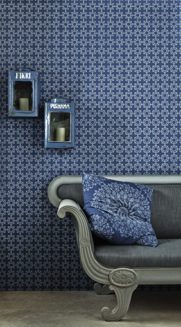 Anchor Tile Wallpaper in Marine by Barnaby Gates