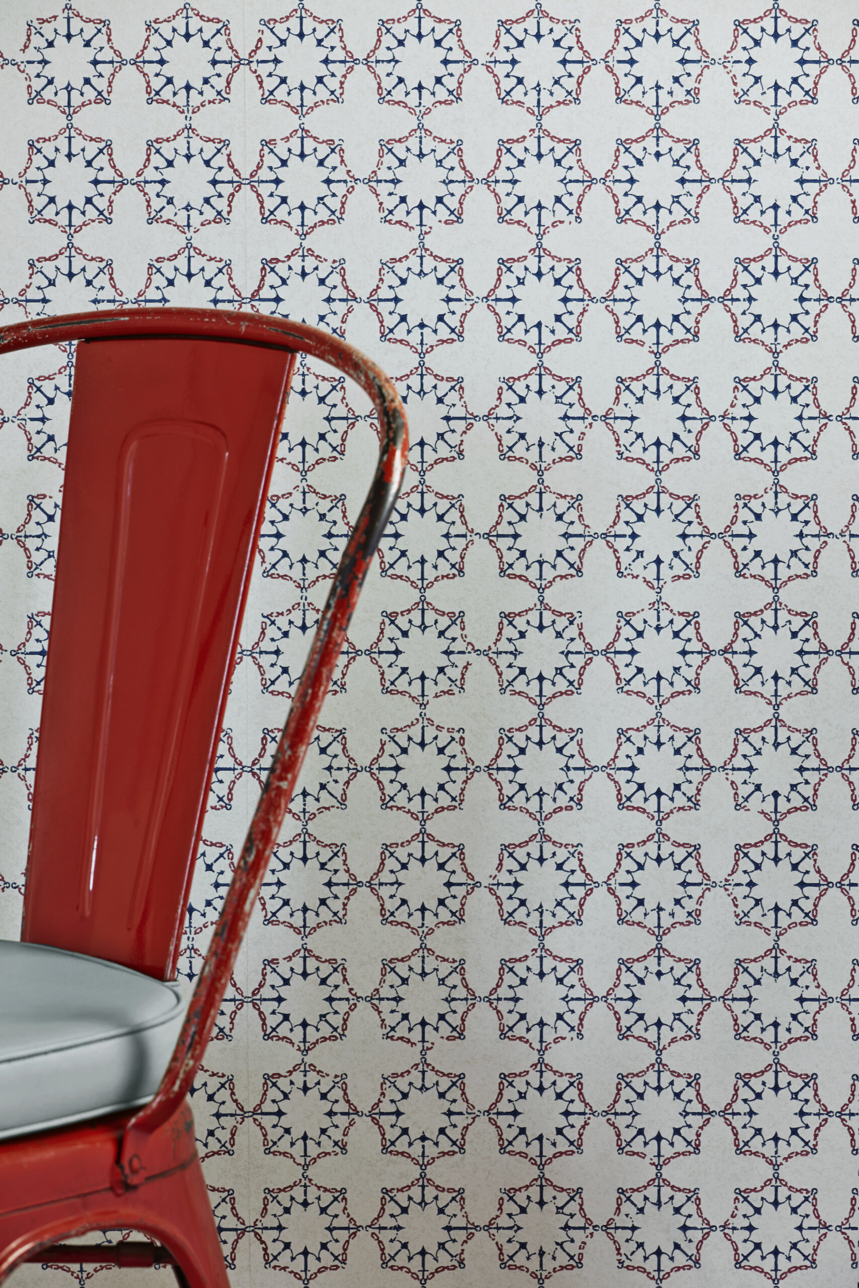 Room Shot of Anchor tile wallpaper in Red, White and Blue by Barnaby Gates