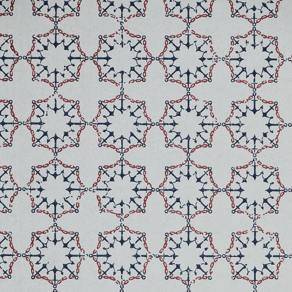 Anchor Tile Wallpaper in Colour way Red, White and Blue by Barnaby Gates