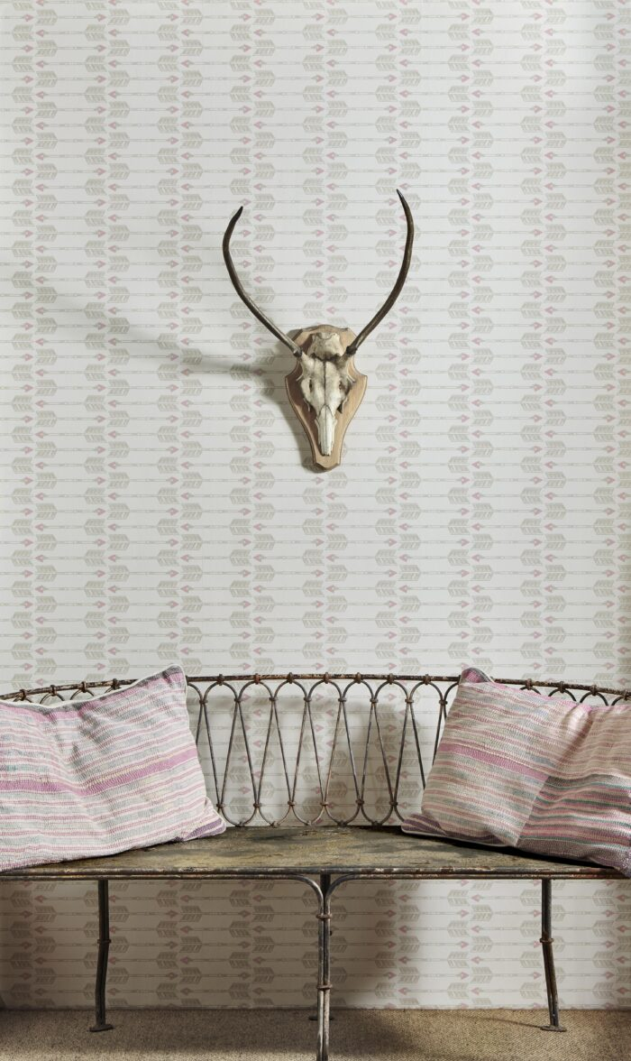 Room shot showing Arrow wallpaper in Blush by Barnaby Gates
