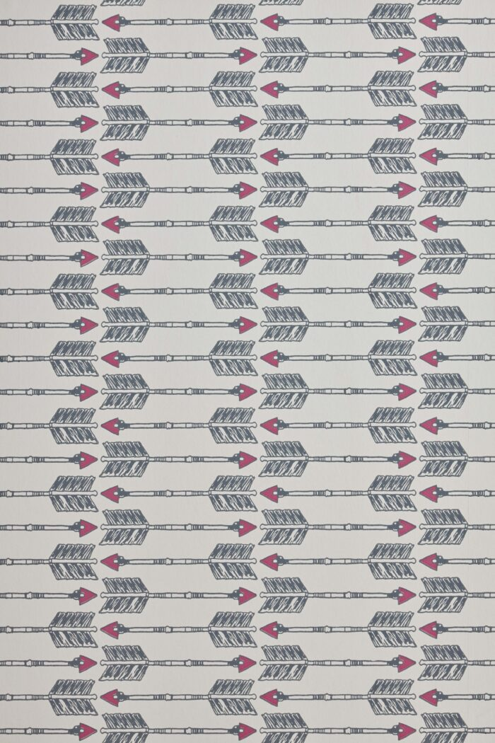 Arrow wallpaper in Charcoal and Pink by Barnaby Gates