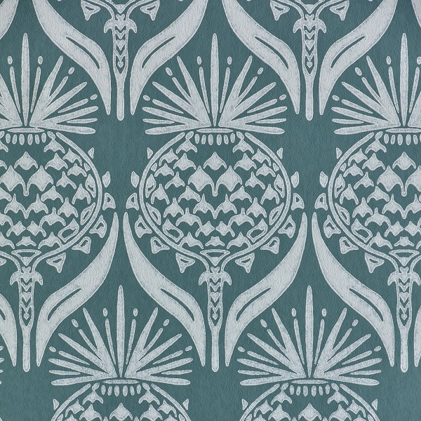 Artichoke Thistle Wallpaper in Teal by Barnaby Gates
