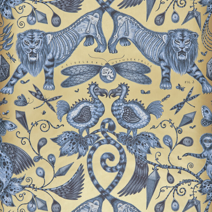 Extinct Wallpaper in colour way Blue designed by Emma J Shipley for the Animalia Wallpaper collection for Clarke & Clarke