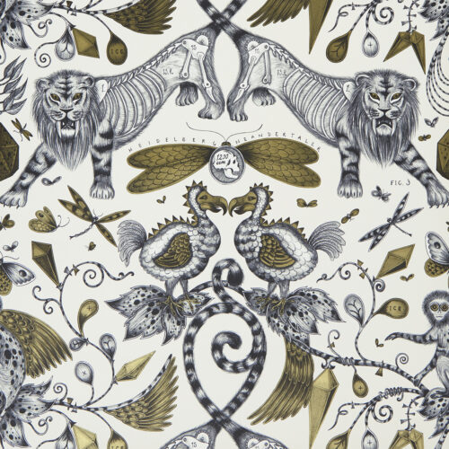 Extinct Wallpaper in colour way Gold designed by Emma J Shipley for the Animalia Wallpaper collection for Clarke & Clarke