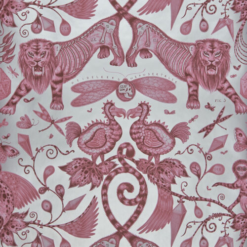 Extinct Wallpaper in colour way Magenta designed by Emma J Shipley for the Animalia Wallpaper collection for Clarke & Clarke