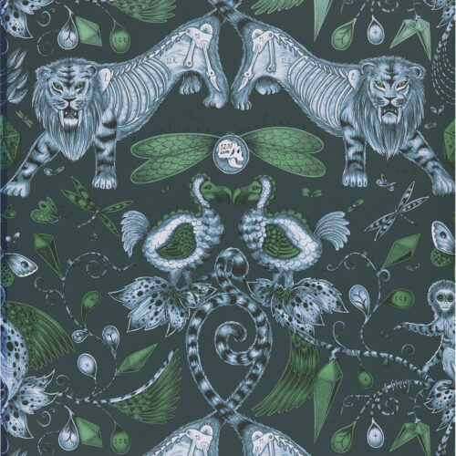 Extinct Wallpaper in colour way Navy designed by Emma J Shipley for the Animalia Wallpaper collection for Clarke & Clarke