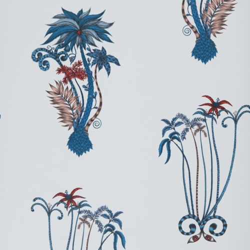 Jungle Palms Wallpaper in colour way blue designed by Emma J Shipley for the Animalia Wallpaper collection for Clarke & Clarke