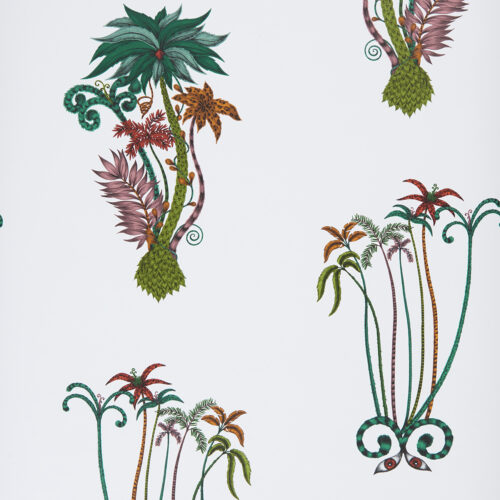 Jungle Palms wallpaper in the colour way Jungle designed by Emma J Shipley for the Animalia Wallpaper collection for Clarke & Clarke