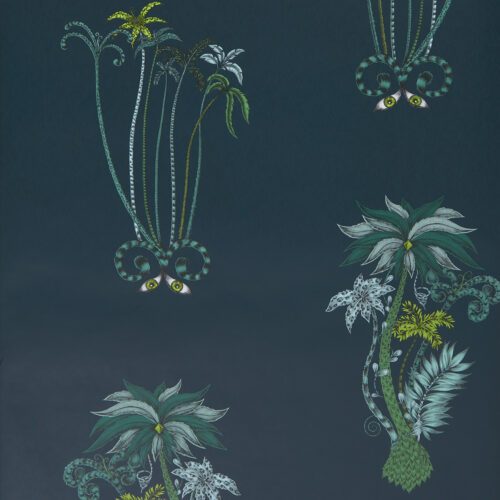 Jungle Palms wallpaper in Colour way Navy designed by Emma J Shipley for the Animalia Wallpaper collection for Clarke & Clarke