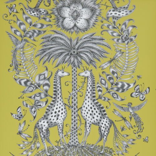 Kruger Wallpaper in Lime from the Animalia Wallpaper collection designed by Emma J Shipley for Clarke & Clarke