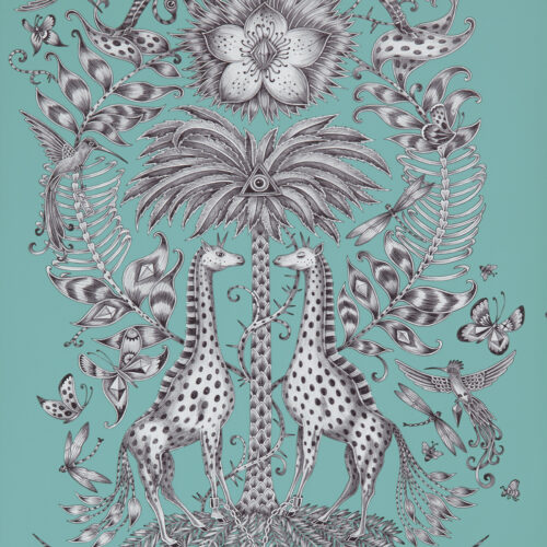 Kruger Wallpaper in Colour way Teal from the Animalia Wallpaper collection designed by Emma J Shipley for Clarke & Clarke