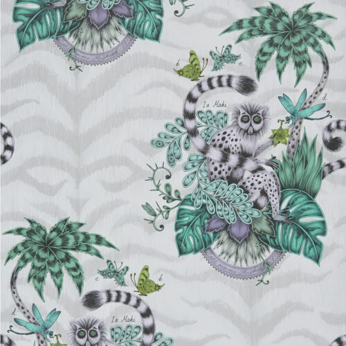 Lemur Wallpaper in colour way Jungle from the Animalia Wallpaper collection designed by Emma J Shipley for Clarke & Clarke