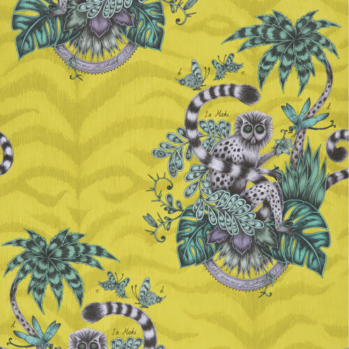Lemur wallpaper in colour way Lime from the Animalia Wallpaper collection designed by Emma J Shipley for Clarke & Clarke