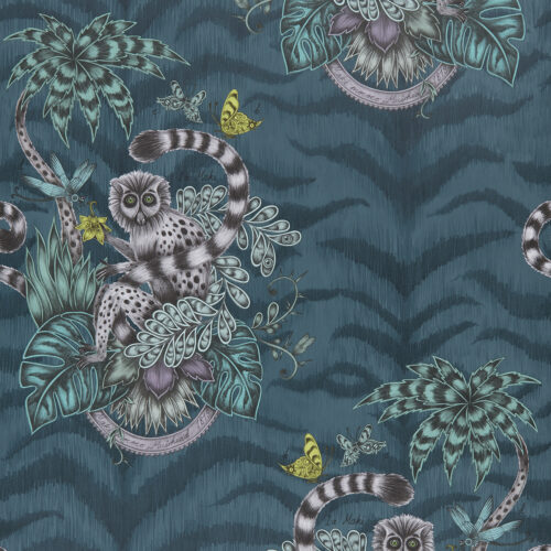 Lemur Wallpaper in colour way Navy from the Animalia Wallpaper collection designed by Emma J Shipley for Clarke & Clarke