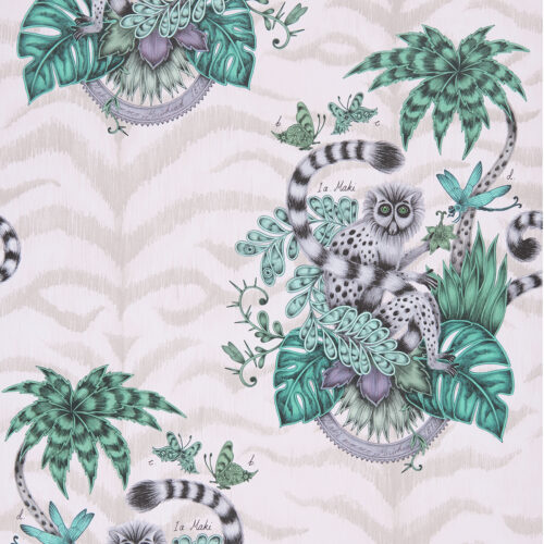 Lemur Wallpaper in colour way Pink from the Animalia Wallpaper collection, designed by Emma J Shipley for Clarke & Clarke