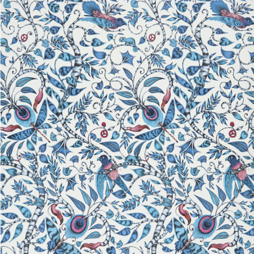 Rousseau Wallpaper in colour way Blue from the Animalia Wallpaper collection designed by Emma J Shipley for Clarke & Clarke