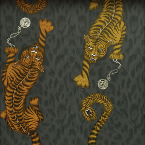 Tigris Wallpaper in colour way Flame from the Animalia Wallpaper collection designed by Emma J Shipley for Clarke & Clarke