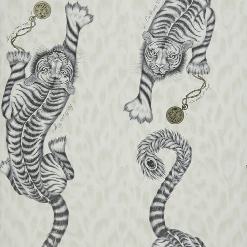 Tigris Wallpaper in colour way Monochrome from the Animalia Wallpaper collection designed by Emma J Shipley for Clarke & Clarke