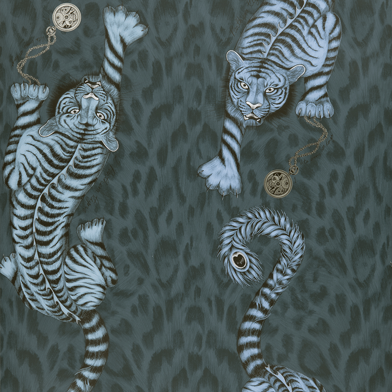 Tigris Wallaper in colour way Navy from the Animalia Wallpaper collection designed by Emma J Shipley for Clarke & Clarke