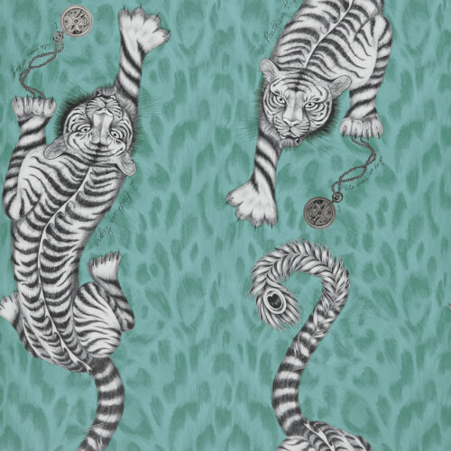 Tigris wallpaper in colour way Teal from the Animalia Wallpaper collection designed by Emma J Shipley for Clarke & Clarke